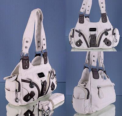 Kleine Handtasche weiß Wochenendtasche mit Außentaschen Umhängetasche