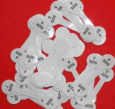 Lot 50pc (10each)size6,7,8,9& Blank.Ring Barbell Stick Tags Jewelry Display Fast