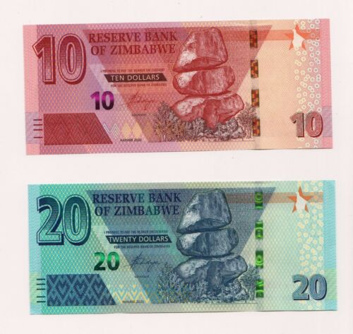 NEW: ZIMBABWE: Z$ 10  & Z$ 20 dollars Banknote,  2020, P-New, UNC condition