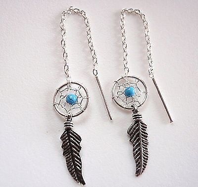 Very Small Turquoise Dream Catcher Threader Earrings Feather 925 Sterling - Small Turquoise Dreamcatcher Earrings