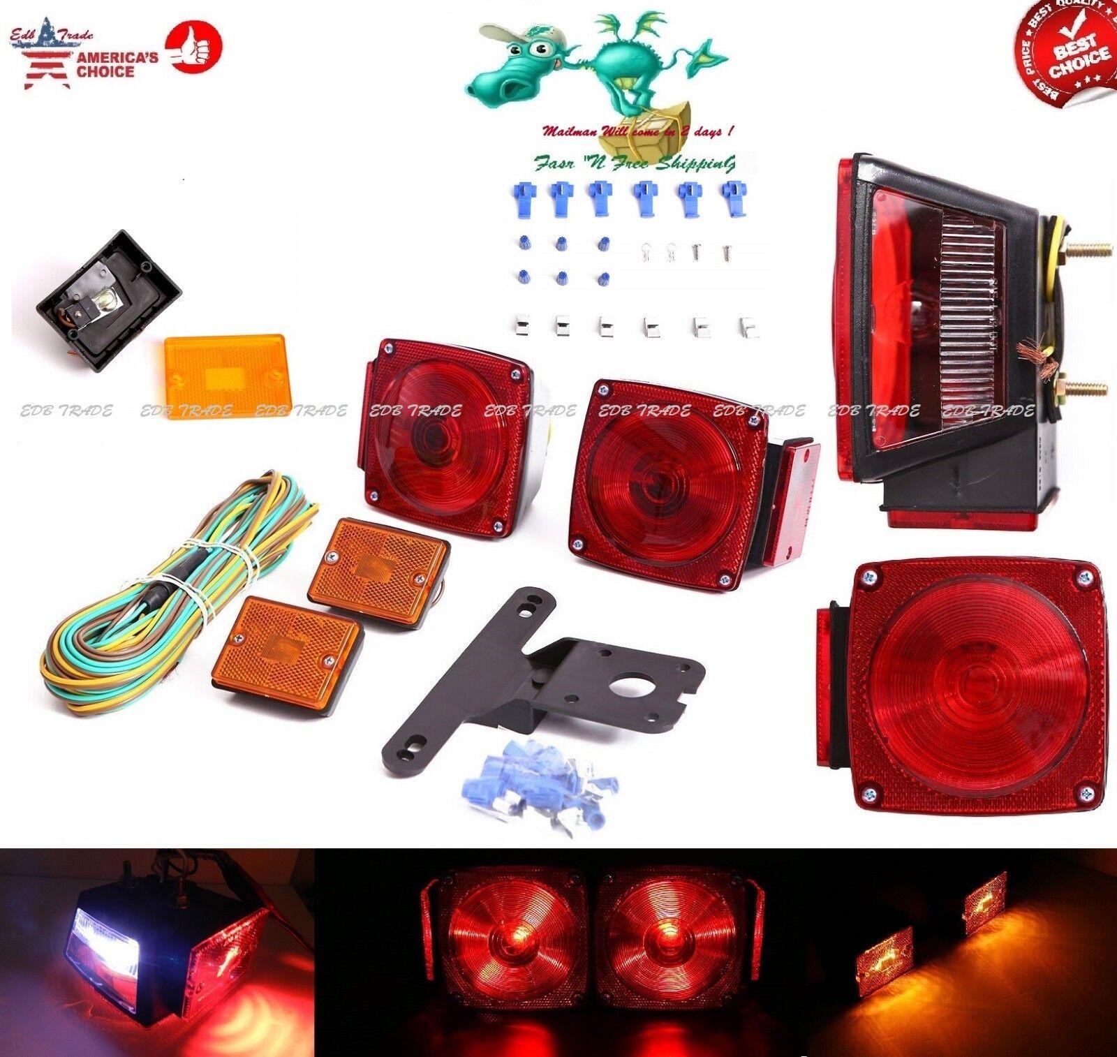 Trailer Lights Set Kit Camper Truck Boat Light Square Rear Tail Stop Waterproof