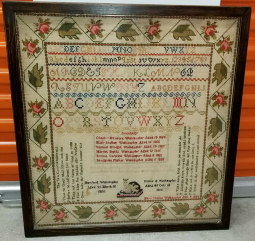 1855 STITCHED COLORFUL NEEDLEWORK SAMPLER with THE TEN COMMANDMENTS & GENEALOGY
