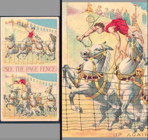 Ben-Hur Chariot Race 1800s Roman Horse Race Page Fence Farm Victorian Trade Card