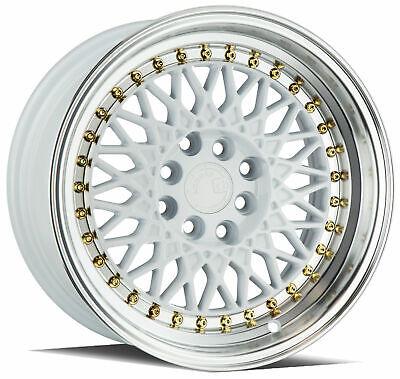 Aodhan AH05 17x9 5x100 5x114.3 +25 White Wheels Machined Lip 17 Inch Rims Set 4 Machined Lip Set
