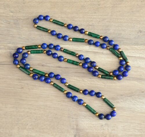 "Vintage Malachite & Lapis Lazuli Semi Precious Beads Knotted Necklace 28"""