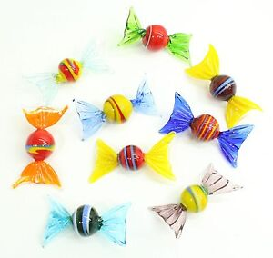 NEW 9 x Different Colourful Glass Sweets Ornaments Pretty & Unusual Gift