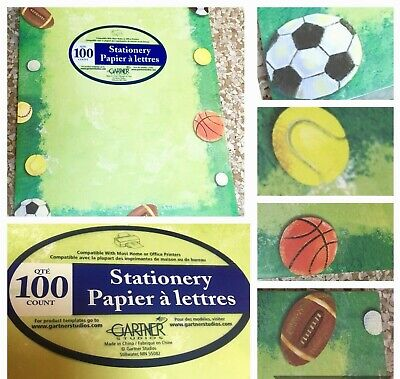 GARTNER Studios 8.5x11 Sports Ball Stationery 100ct Printer Compatible @Home Ofc 100 Ct Stationery