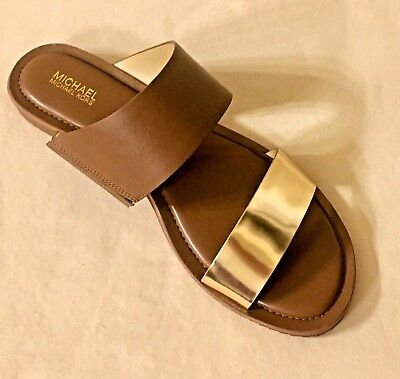 Women MK Michael Kors Millie Slide Sandals Leather Luggage/gold MSRP - Michael Kors Gold Sandals