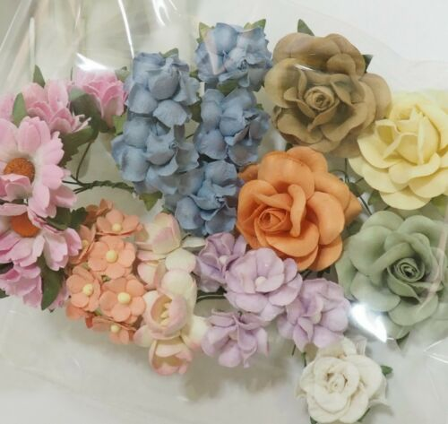 40 Assortment Paper Flower Wedding bouquet Scrapbook TH/Pastel-J1