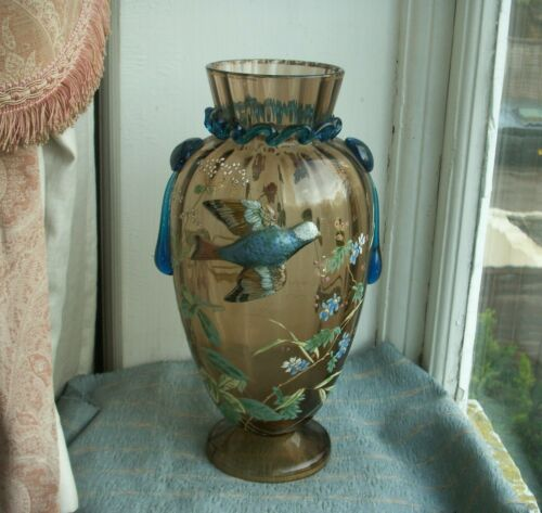 Old Top Qualty Antique Moser Glass Vase Applied Bird,  Enamelled Flowers Clover