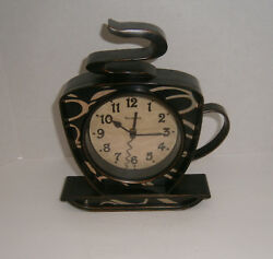 WESTCLOX Wall Clock COFFEE CUP  Rustic Bronze Look Battery