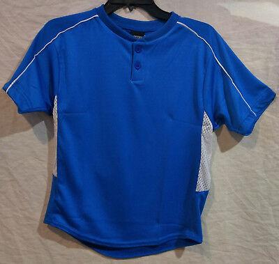 654ab20b449 3N2 Clutch Baseball Softball Henley Shirt Practice Jersey-Blue-Youth Medium- New!