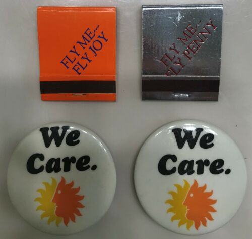 National Airlines four item lot:Personalized Employee Match Books+promo Buttons