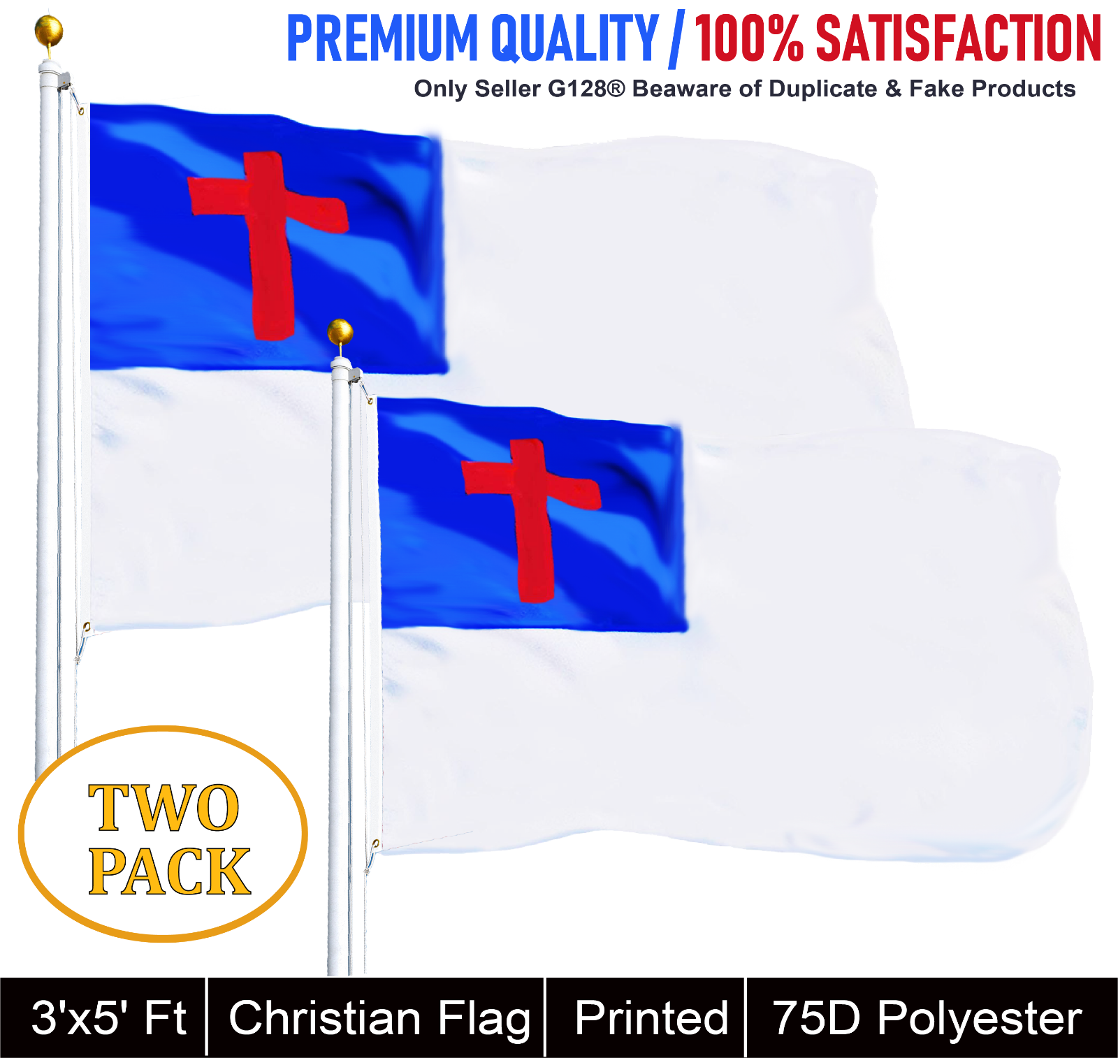 G128® TWO PACK of Christian Religious Flag Polyester 3x5 ft