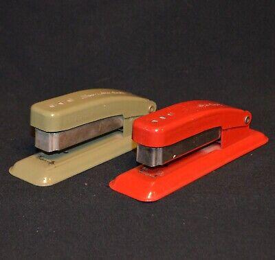 Vintage Metal Swingline Cub Stapler Lot Red Green Both Working