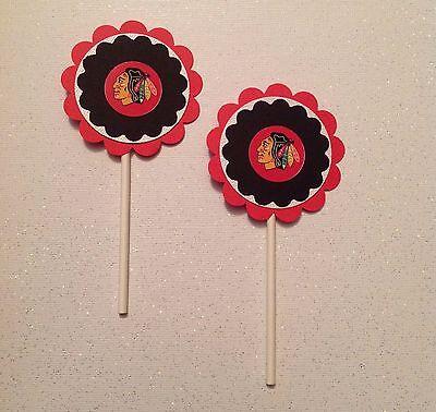 Nhl Chicago Black Hawks Cupcake Toppers - Black Hawks Birthday Party Decor Handm (Blackhawks Birthday Party)