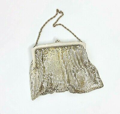 1920s Style Purses, Flapper Bags, Handbags Vintage Silver Plate Mesh Evening Bag by Whiting & Davis USA 1920's/30's $33.70 AT vintagedancer.com