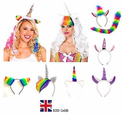 RAINBOW UNICORN HEADBAND Ladies Girls Kids Halloween Pony Dash Fancy Dress UK