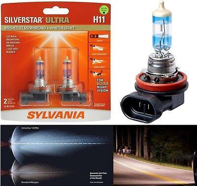 Sylvania Silverstar Ultra H11 55W Two Bulbs Head Light Low Beam Plug Play Lamp