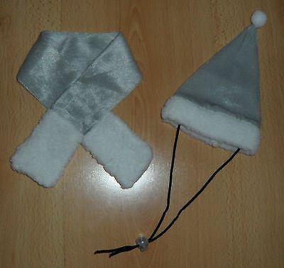 Weihnachts Hundekostüm Hunde Katzen Mütze + Schal Grau Weiß