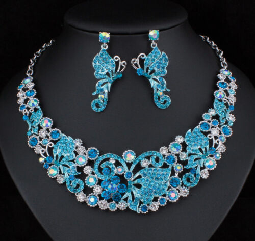Butterfly Austrian Crystal Rhinestone Necklace Earrings Set Prom Bridal N918b