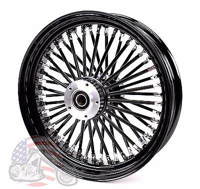 "Black Out 16"" X 3.5"" 48 Fat King Spoke Rear Wheel Rim Harley Touring Softail"