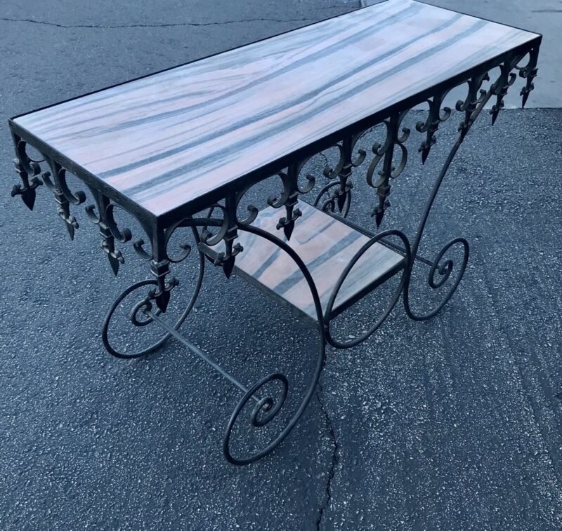 French Pastry Antique Wrought Iron Console Table Marble Top