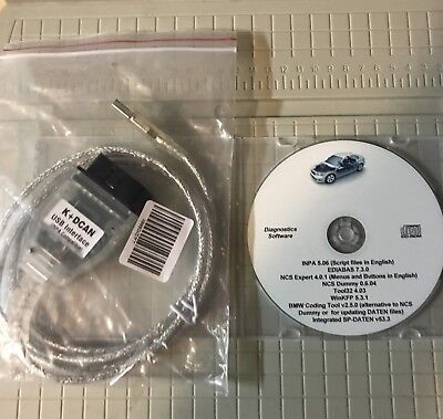 NEW BMW Coding Diagnostic INPA EDIABAS NCS WinKFP Easy Setup Disc + K+DCAN Cable