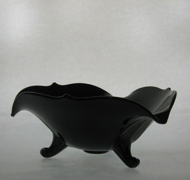 Vintage Black Amethyst 3 Footed Bowl