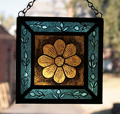 Stained Glass,Hand Painted,Kiln Fired Amber Flower # 1400-07