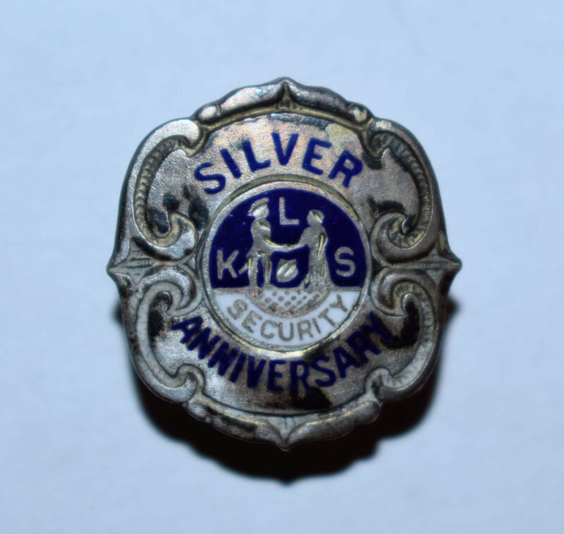 22. VINTAGE KLS SECURITY 50th SILVER ANNIVERSARY PINBACK STERLING SILVER FRONT