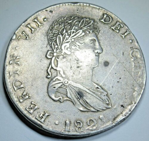 1821 CG XF-AU Mexico War Of Independence Durango Silver 8 Reales Dollar Coin