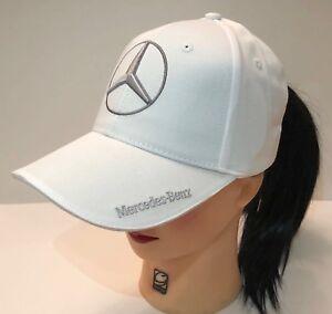 NIB Mercedes Benz With Logo White Hat Cap Adjustable 90eda93bfe4d