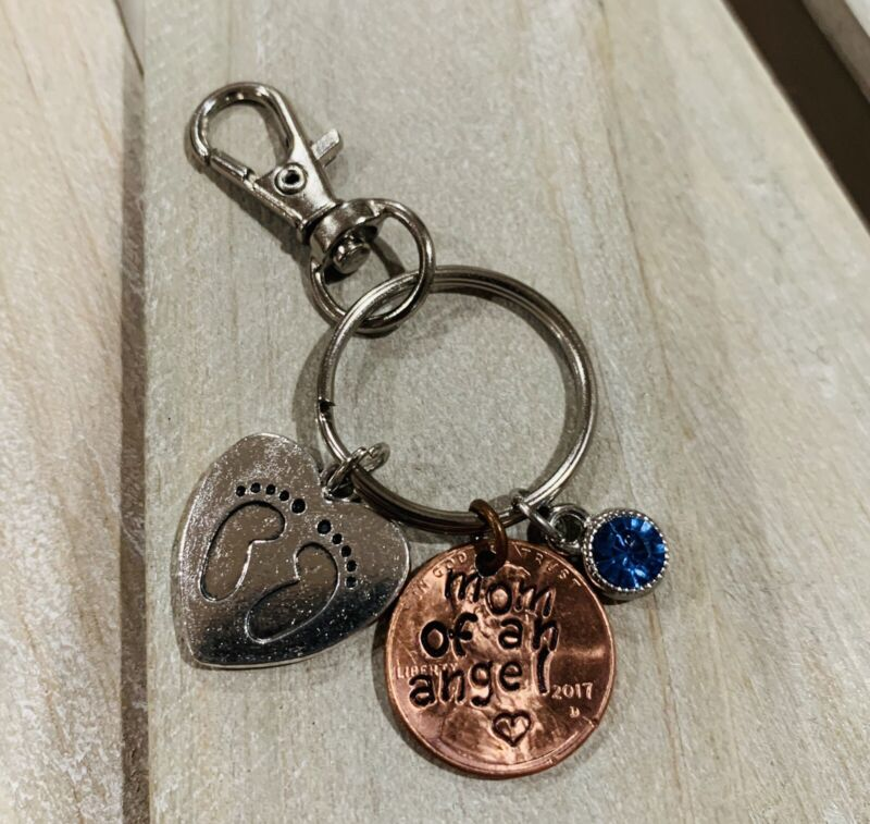 Mom Of An Angel Birthstone Hand Stamped Penny Keychain Memory Keepsake