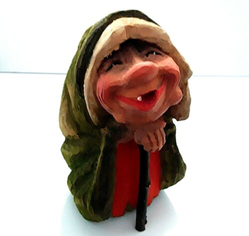 *Vintage Henning Norway Hand Carved Wooden Elderly Troll Woman Sculpture *Marked