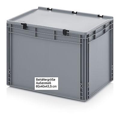Kunststoff Behälter mit Scharnier-Deckel 60x40x43,5 Regalbox Aufbewahrungskiste ()