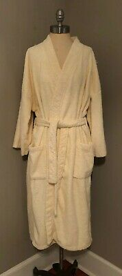 The Company Store Womens Robe S/M Bamboo Cotton Buttery Ivory AS IS