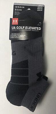 NWT 2 Pair Under Armour Men's LG Golf Elevated Socks No Show Cushion Graphite