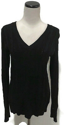 Classic Ribbed Pullover - OLD NAVY Classic Black Cable Ribbed V-Neck Long Sleeve Pullover Sweater S EUC