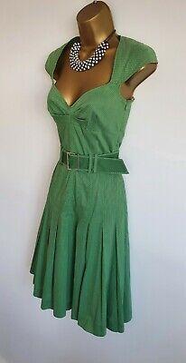 Karen Millen BNWT Green Polka Dot Spotty Pin Up Style Midi Dress UK 8