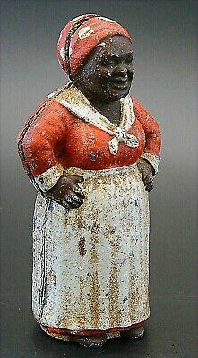 ANTIQUE African American Cast Iron Bank figurine 1900's Original Paint, RARE
