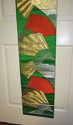 Vintage Japanese Silk Kimono Fukuro Obi Excellent Condition Gold Silver Red Tone