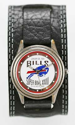 Fossil Watch Mens Bills LE Super Bowl 28 Stainless Silver Leather Black Quartz
