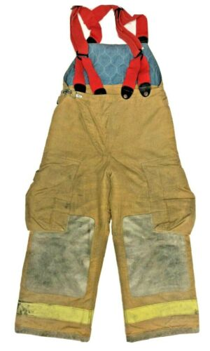 30x26 Globe Brown Firefighter Turnout High Back Pants With Suspenders P1266