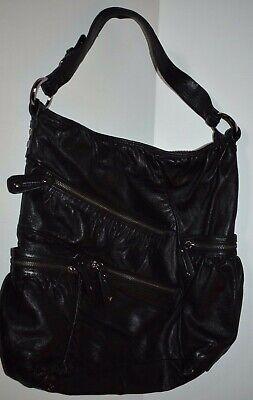 - Designer JUNIOR DRAKE Black Leather Tote Satchel Shoulder Bag Handbag Purse
