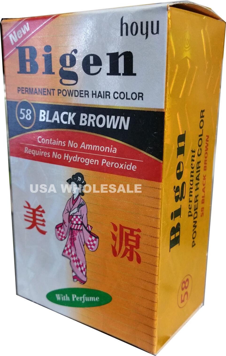 #58 Black Brown Bigen Hair Dye Powder Color No Amonia No Per