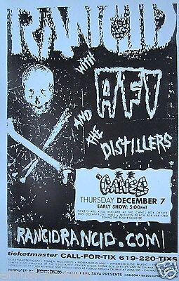 RANCID / AFI /DISTILLERS SAN DIEGO 2000 CONCERT TOUR POSTER -Skull & Cross Bones