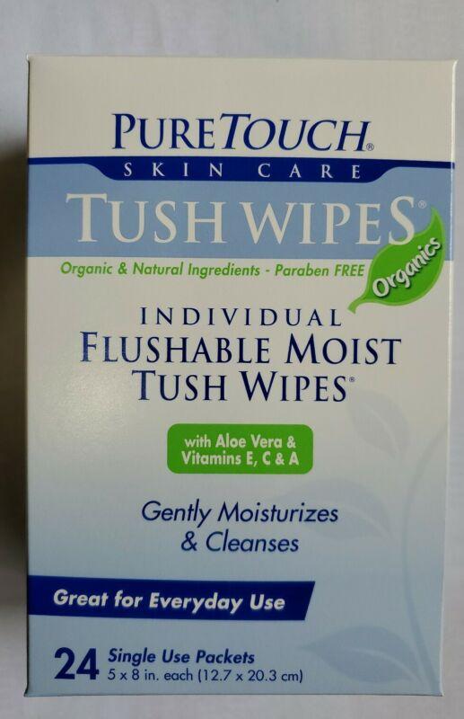 Pure Touch Tush Wipes Individual  Flushable Moist Tush Wipes (organic) 24 pcs