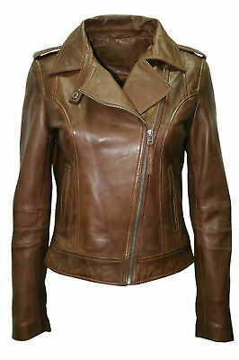 Womens Leather Jacket Genuine Lambskin Real Biker Motorcycle Slim Fit Coat Brown Fitted Leather Jacket