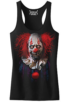 Top Scary Costumes (New Junior's Zombie Clown Racerback Tank Top Halloween Scary Silly Devil)